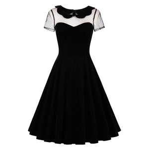 Vintage Solid Black Short Sleeve O-Neck Rockabilly Dress