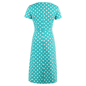 Sisjuly bodycon dress women vintage polka dots dresses bowknot straight office short sleeve green retro bodycon dresses 2017