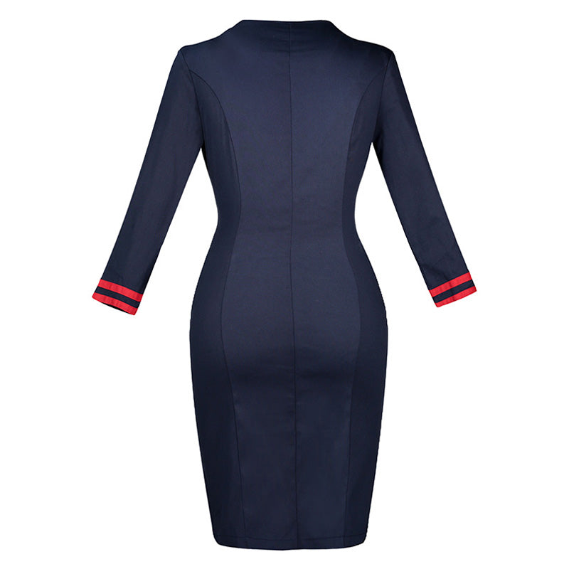 Knee Length Sheath Uniform Pencil Dress