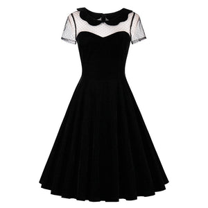 Sisjuly retro women dress black vintage 1950s summer elegant dress sexy hollow out peter pan collar gothic 2018 vintage dress