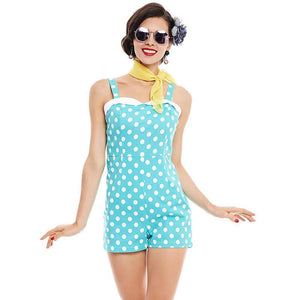 Summer Pin Up Vintage Style Jumpsuit Shorts