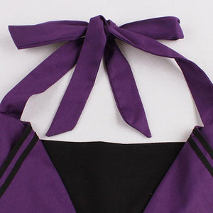 Womens 1950s Sleeveless Backless Halter Black and Purple Vintage Style