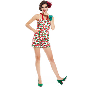 Vintage Suspenders Pin Up Strawberry Print Jumpsuit