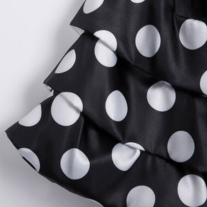 Womens Vintage Style Black White Polka Dots 50s V-neck Butterfly Sleeve Blouse