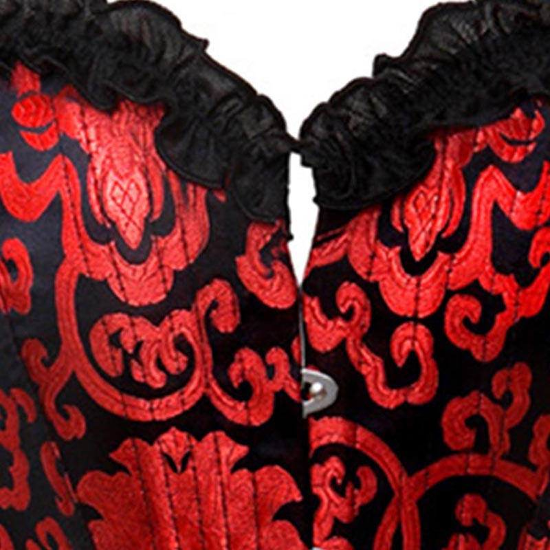 Vintage Style Strappless Red Floral Corset Bustier