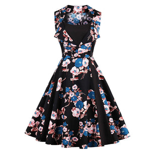 Womens Floral Print Pin Up A-Line Vintage Style Rockabilly Dress