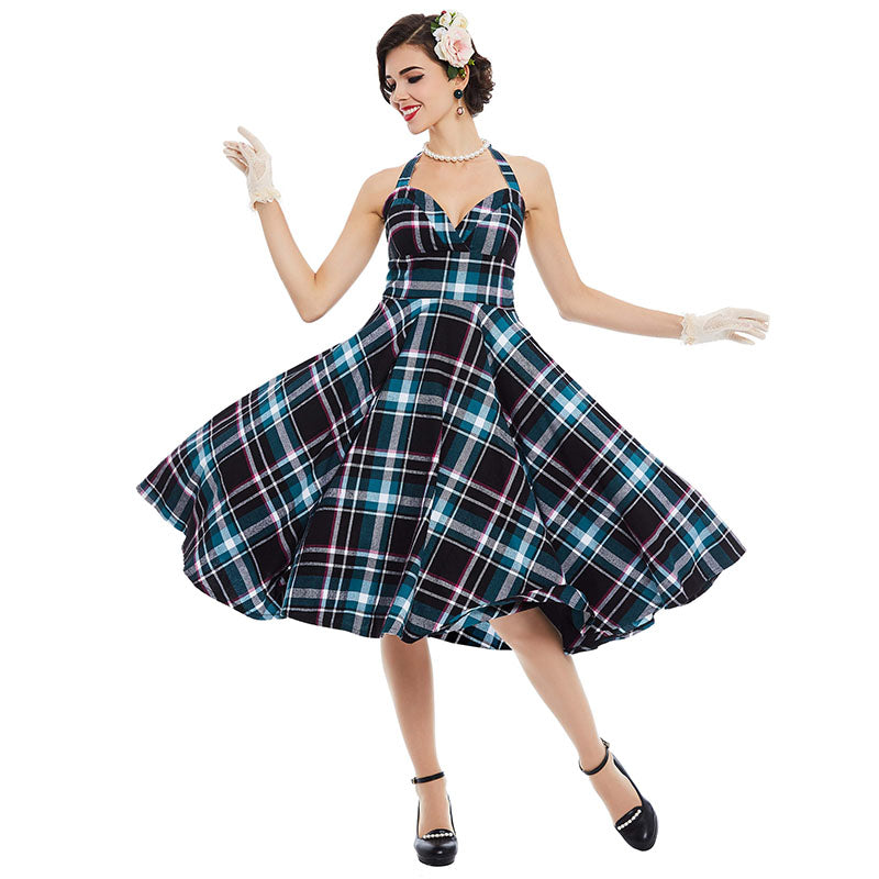 1950s Plaid Patchwork Sleveless Dress