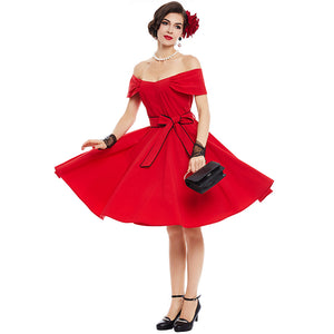 Vintage Elegant Red Off Shoulder Dress