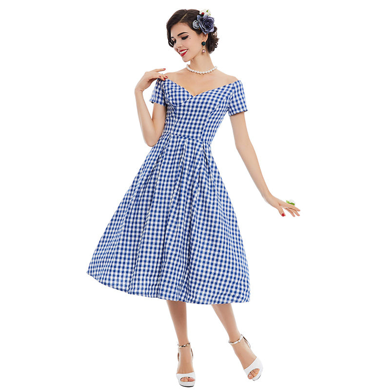 1950s Style Rockabilly Blue Plaid Vintage Style Dress