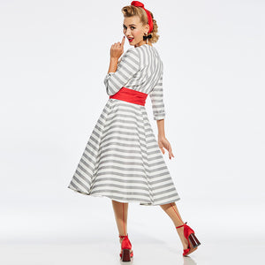 Vintage Style A-Line Three Quarter Sleeves V-Neck Striped Dress