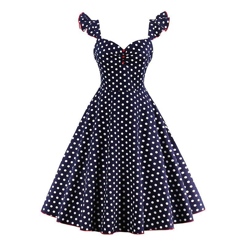 1950s Polka Dots Dress in Butterfly Sleeve