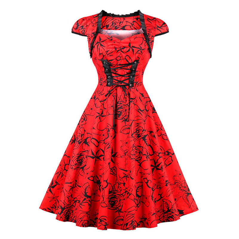 Vintage Womens 1950s Rockabilly A-Line Off the Shoulder Party Dres