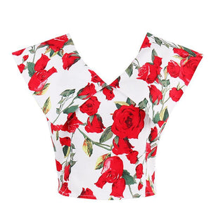 Rose Print Retro V-neck Top Blouse