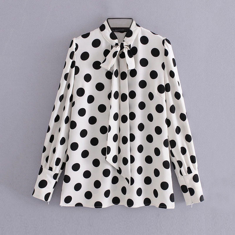 White Polka Dots Long Sleeve Blouse