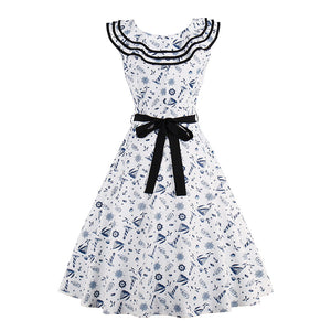 1950s Vintage White Patchwork Dress in Sailor Collar