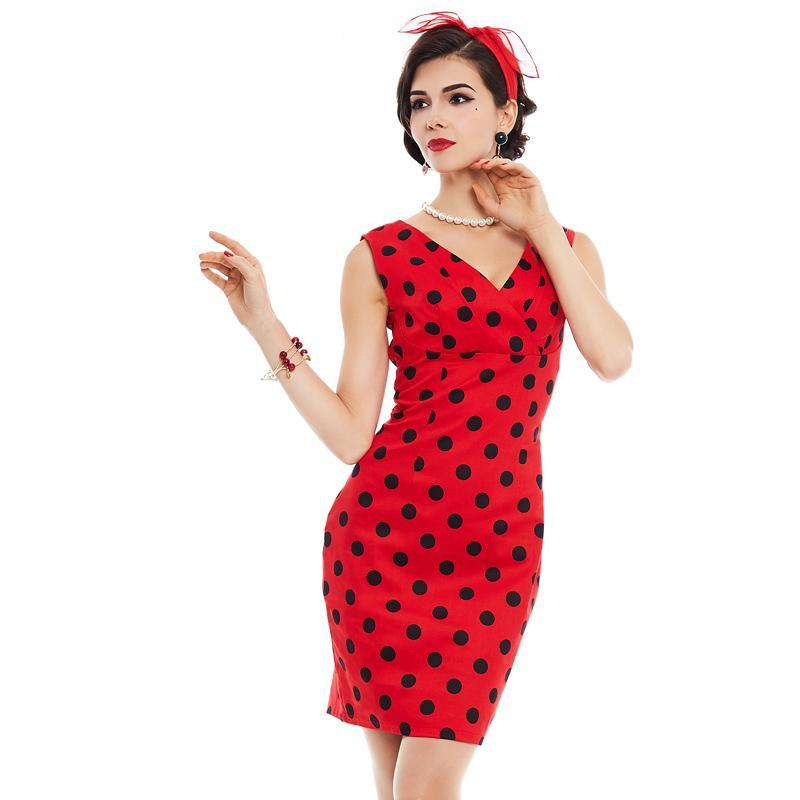 Cute Spring Dot V-neck Red Pencil Bodycon