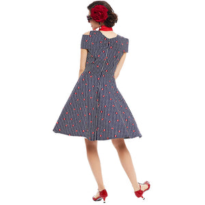 Womens Pin Up Vintage Striped Ruffled Off Shoulder Dress