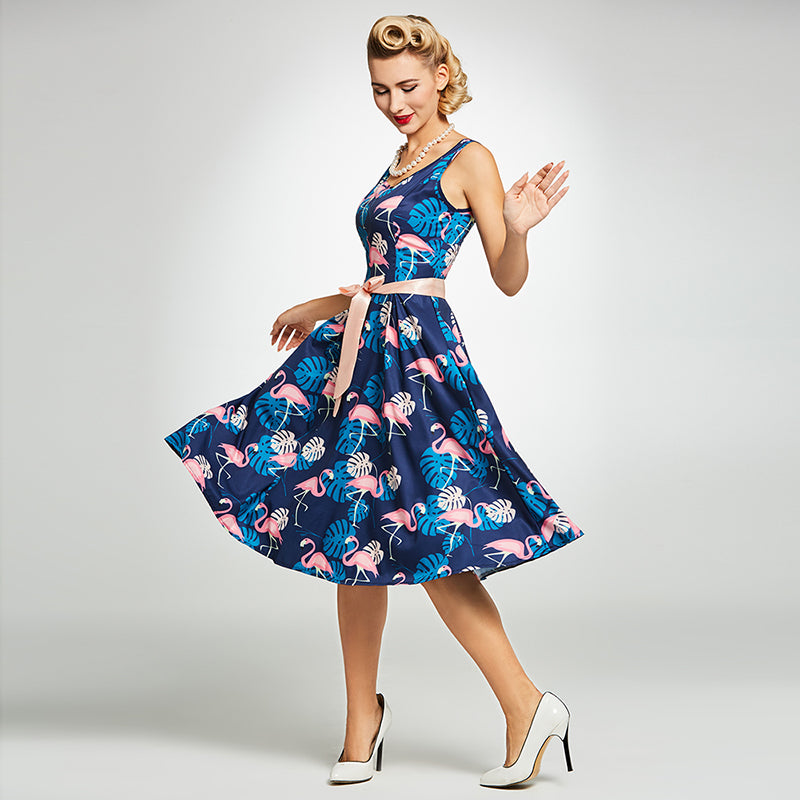Womens Vintage Style Floral and Animal Print Rockabilly Dress