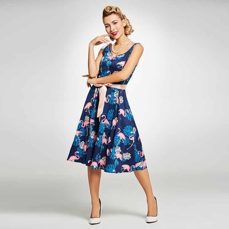 Womens Vintage Style Floral and Animal Print Rockabilly Dress f540654230