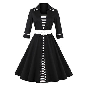 Vintage Black Striped Dress