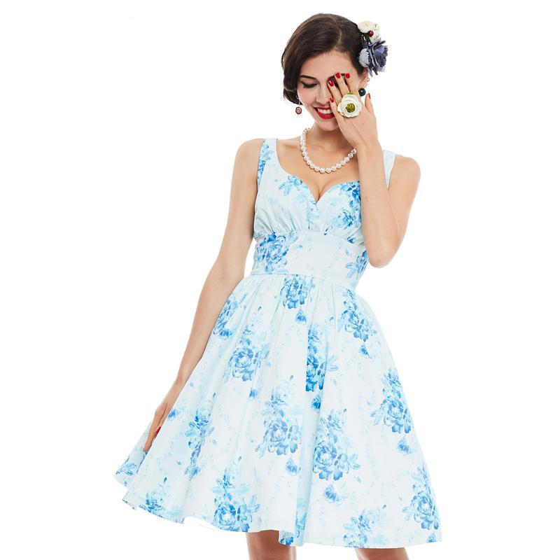 Womens Vintage Style Pin up A-line Floral Print Deep V-neck Rockabilly Dress