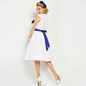 Womens Vintage Pin Up Sleeveless A-line White Blue Bow Dress