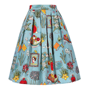 1970s Runway Rockabilly High Waist Skirt