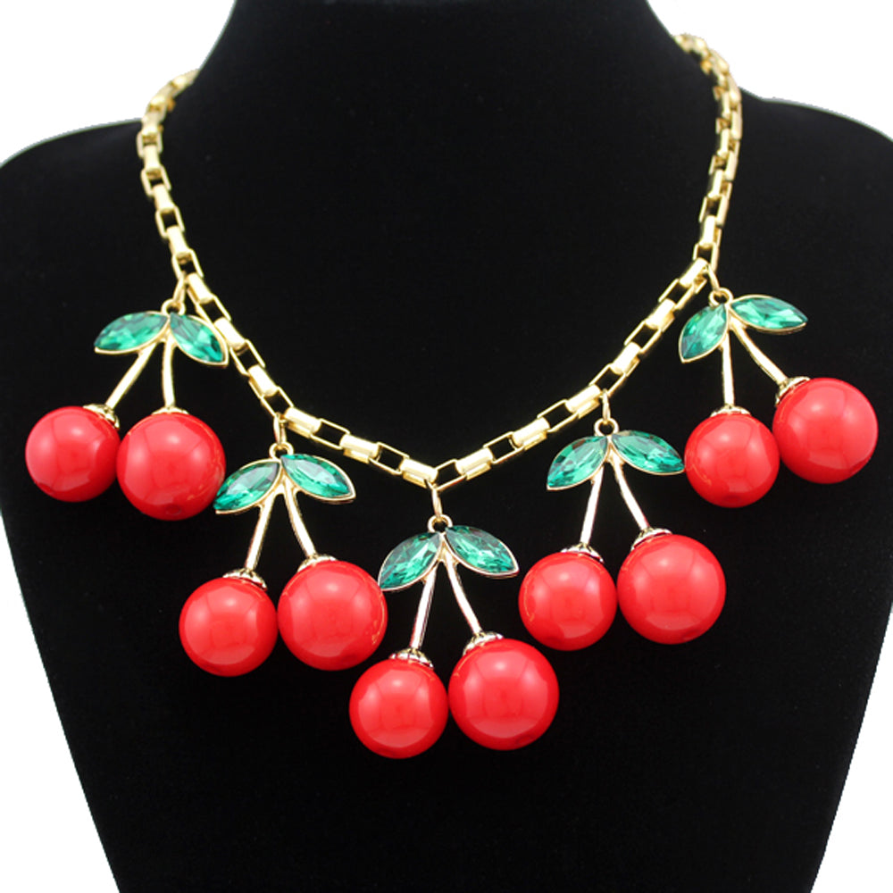 Statement 10 Big Red Cherry Pendant Gold Box Chain Crystal Choker Sweet Collar Bib Necklace Rockabilly Jewelry