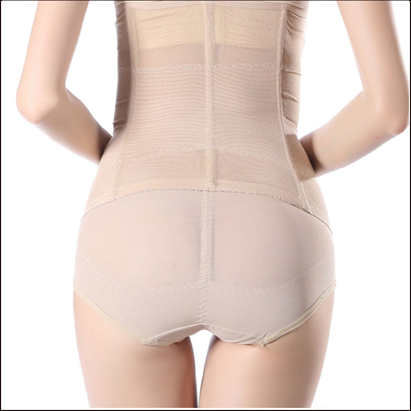 Beige and Black Shapewear Steel Boned Tummy Girdle