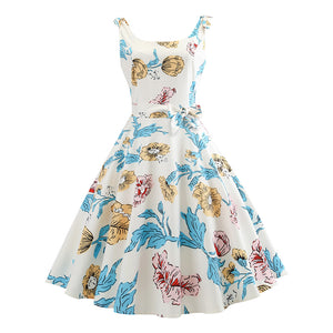 1960s Retro Swing Floral Audrey Hepburn Style Dress