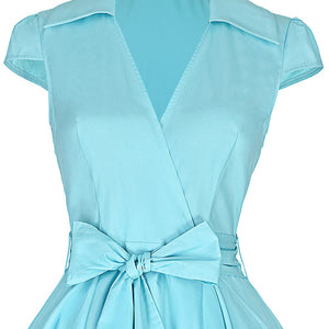 Audrey Hepburn inspired Lapel Collar Dress with Belt