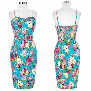 Sexy Floral Print in Spaghetti Strap Bodycon Dress