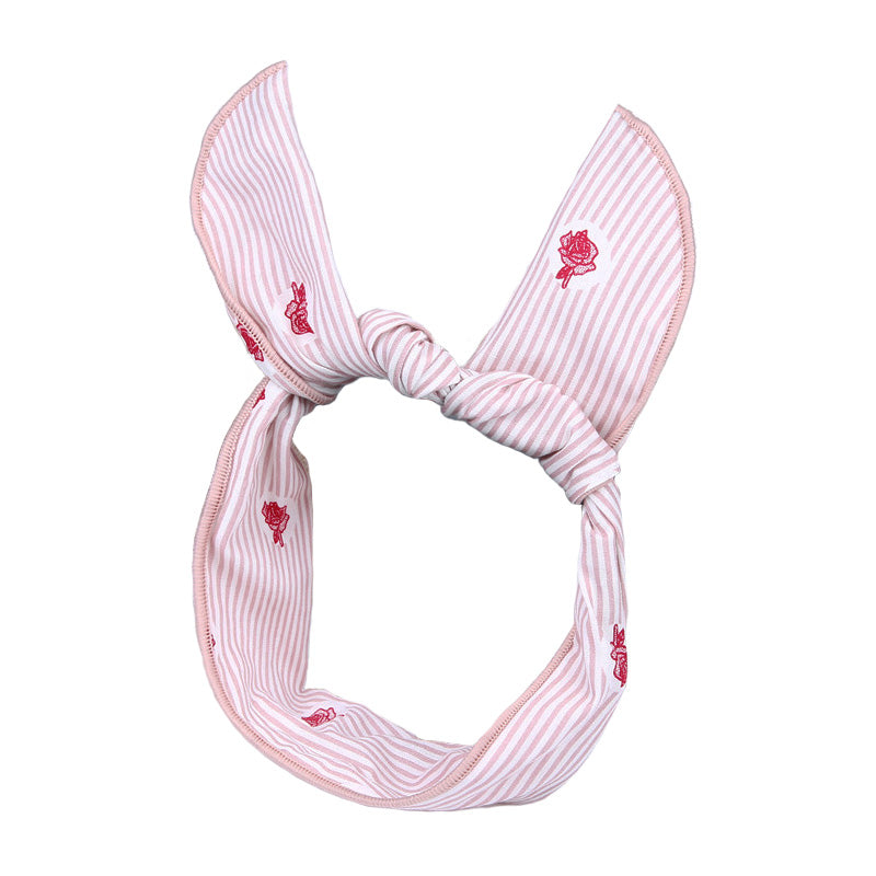 Floral Striped Headscarf Wire Bandana