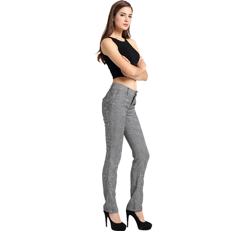 Black White Plaid Pattern Fitted Pants