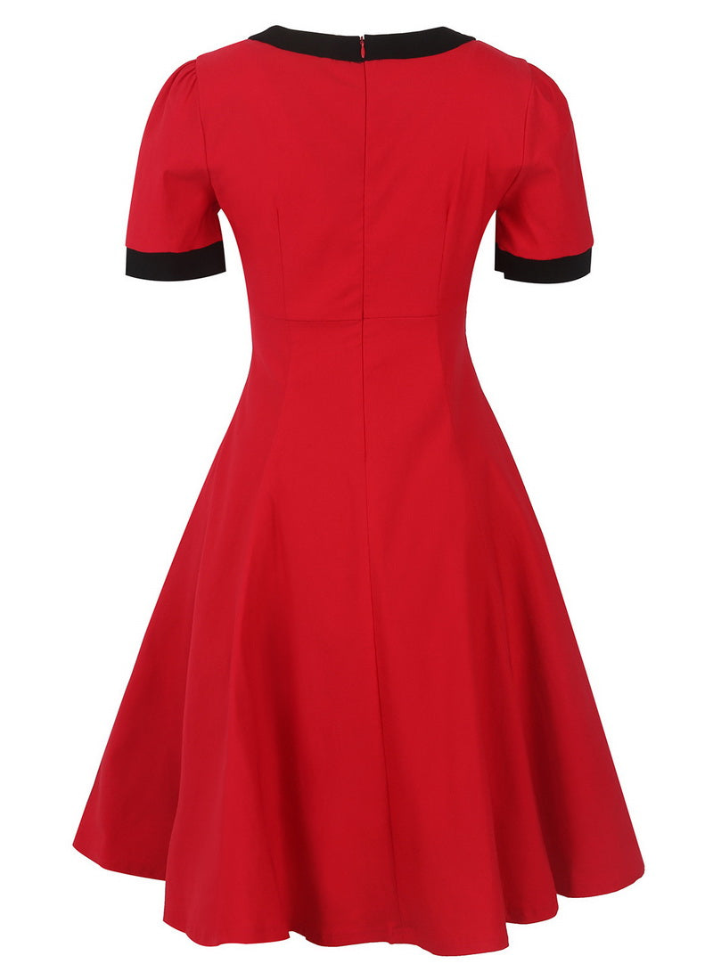 Womens 1950s Vintage Pinup Rockabilly High Waist Bow Neck Party Dress