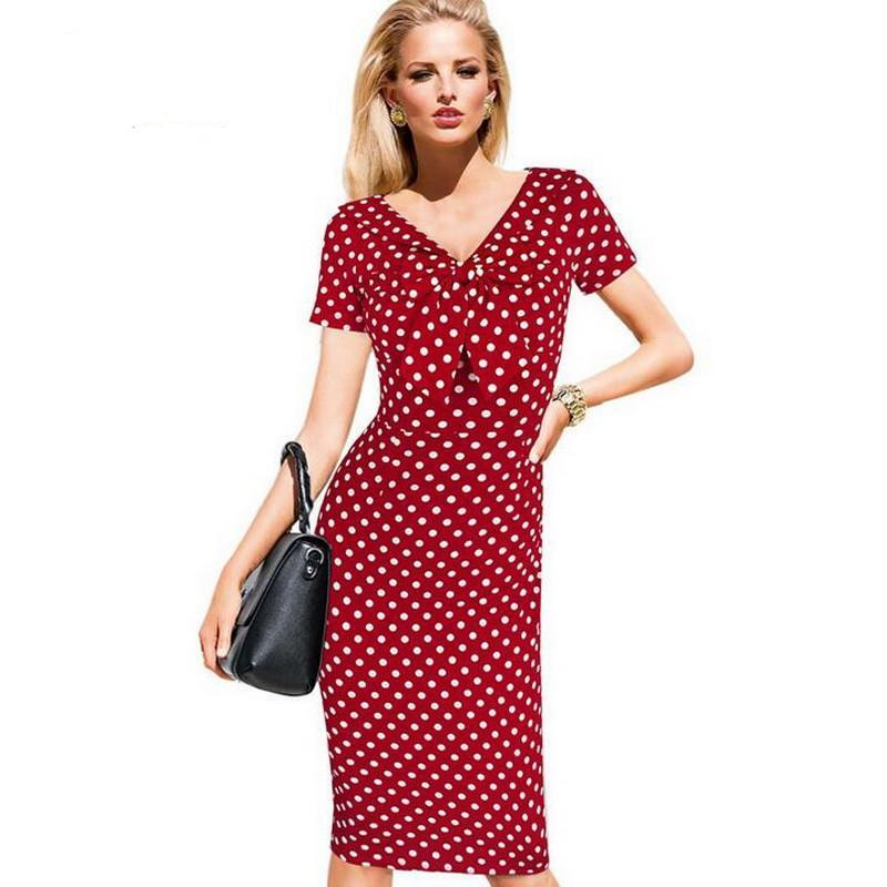 V Neck Pinup Rockabilly Bowknot Vintage Polka Dot Bodycon Dress