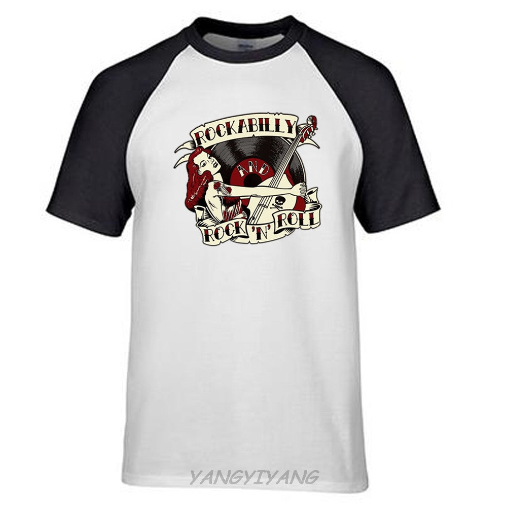 Mens Raglan Short Sleeve Rockabilly Printed Pinup T Shirt