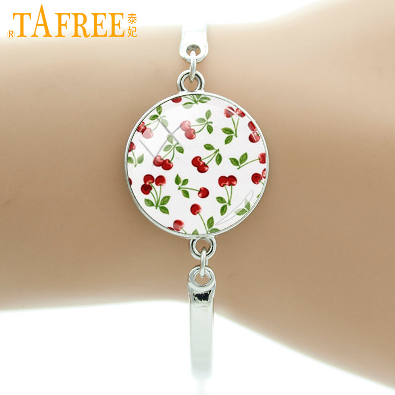 TAFREE Brand Cherry Bracelet Rockabilly Jewelry Glass Art Pretty Poppy Sunflower Flower Picture Wrist Bangle For Women Gift D452