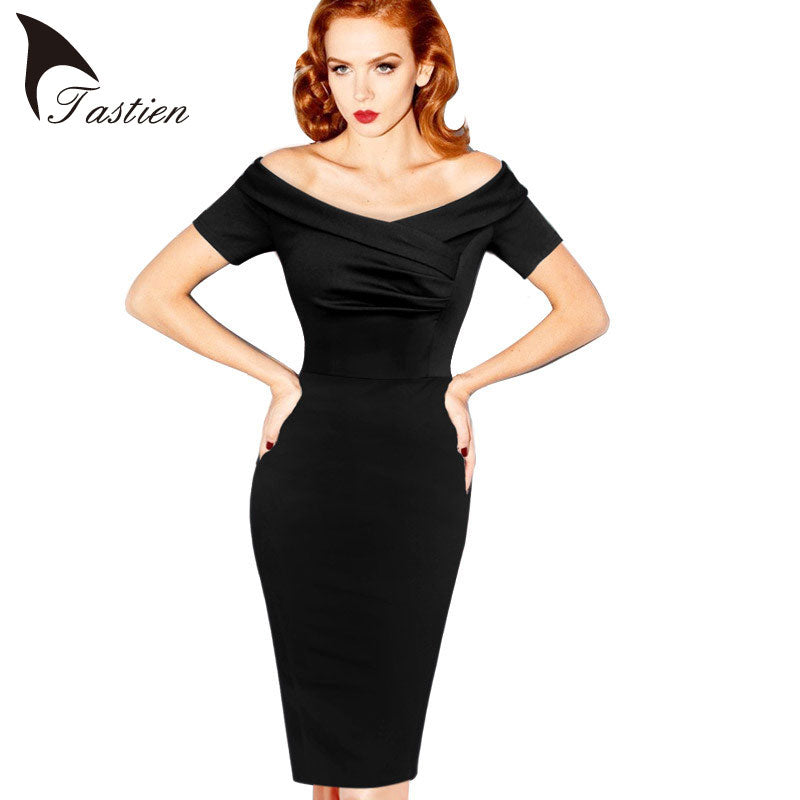 TASTIEN 2017 New Womens Summer Elegant Vintage Pinup Retro Rockabilly Sexy Off Shoulder Ruched Party Bodycon Sheath Wiggle Dress