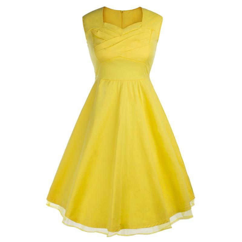 Womens Yellow Rockabilly Vintage 1950s Summer Dresses
