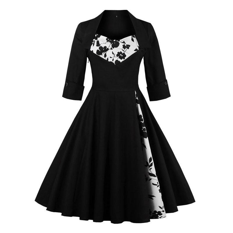 Womens Vintage Rockabilly A-Line Knee Length 50s Dress
