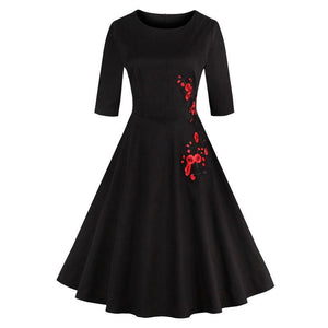 Half Sleeve Embroidery Floral Retro Dress