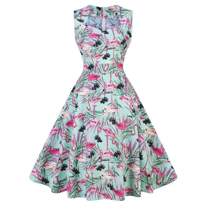 Gorgeous Sleeveless Hepburn Retro Flowers Print Rockabilly Dress