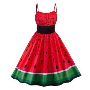 Vintage Summertime Watermelon Spaghetti Strap Pleated Dress