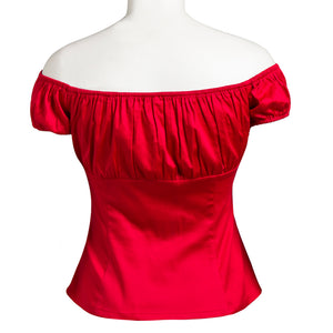 Vintage Off Shoulder Ruffled Top Blouse