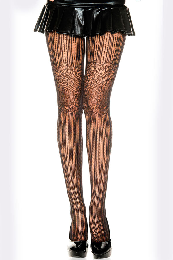 Charming Floral Pattern Fishnet Pantyhose