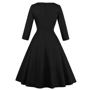 Audrey Hepburn Vintage Style Round Neck Cat Dress