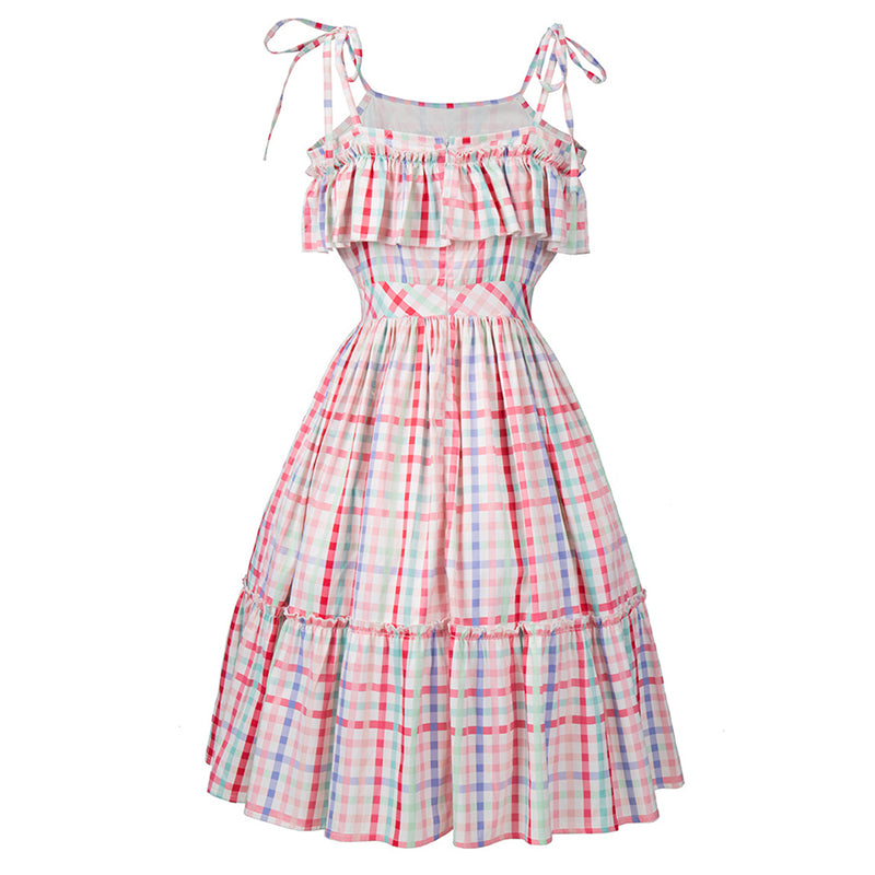 Womens Vintage Plaid Print Strappy Swing Pin Up Dress
