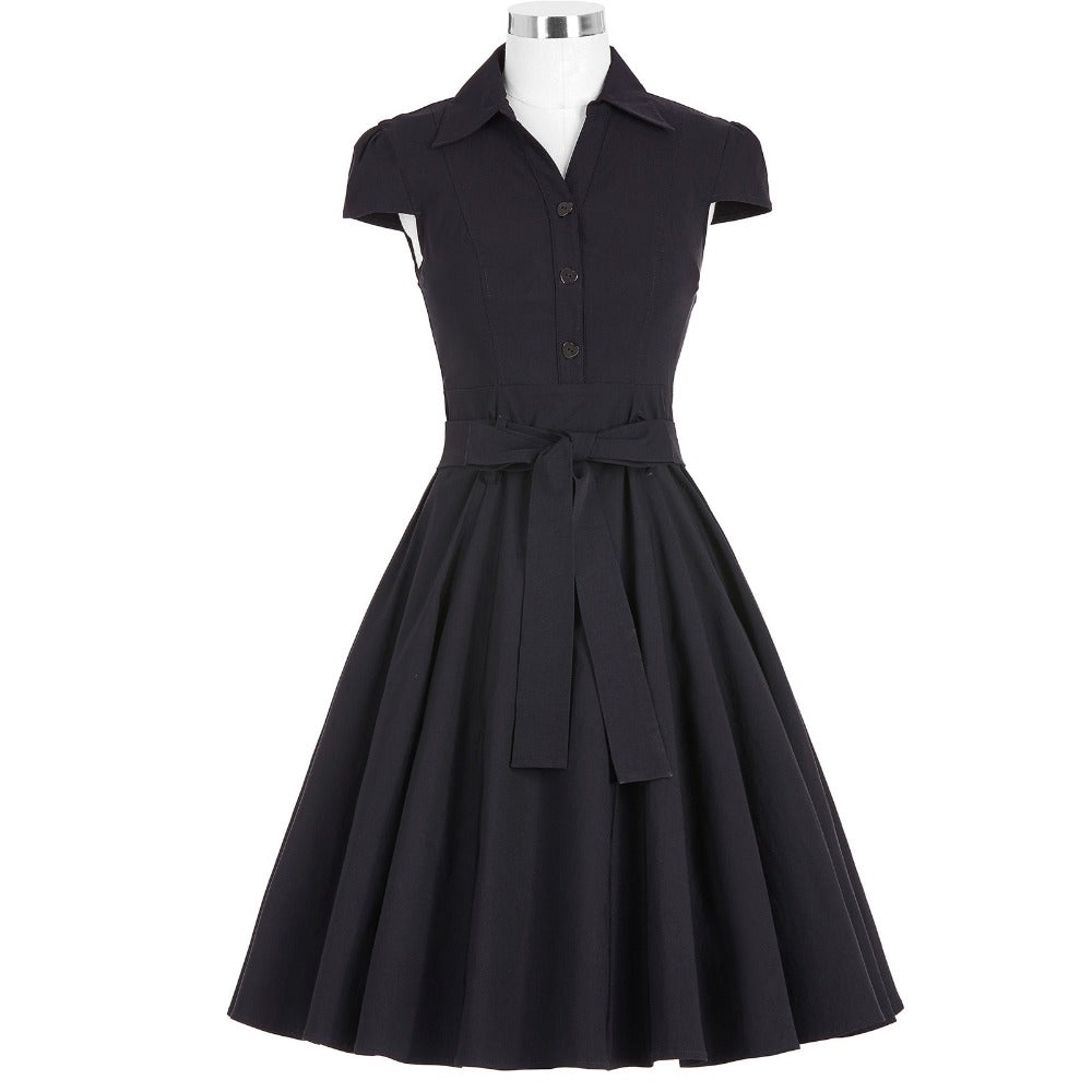 Casual Swing Dress with Button in Turn Down Collar