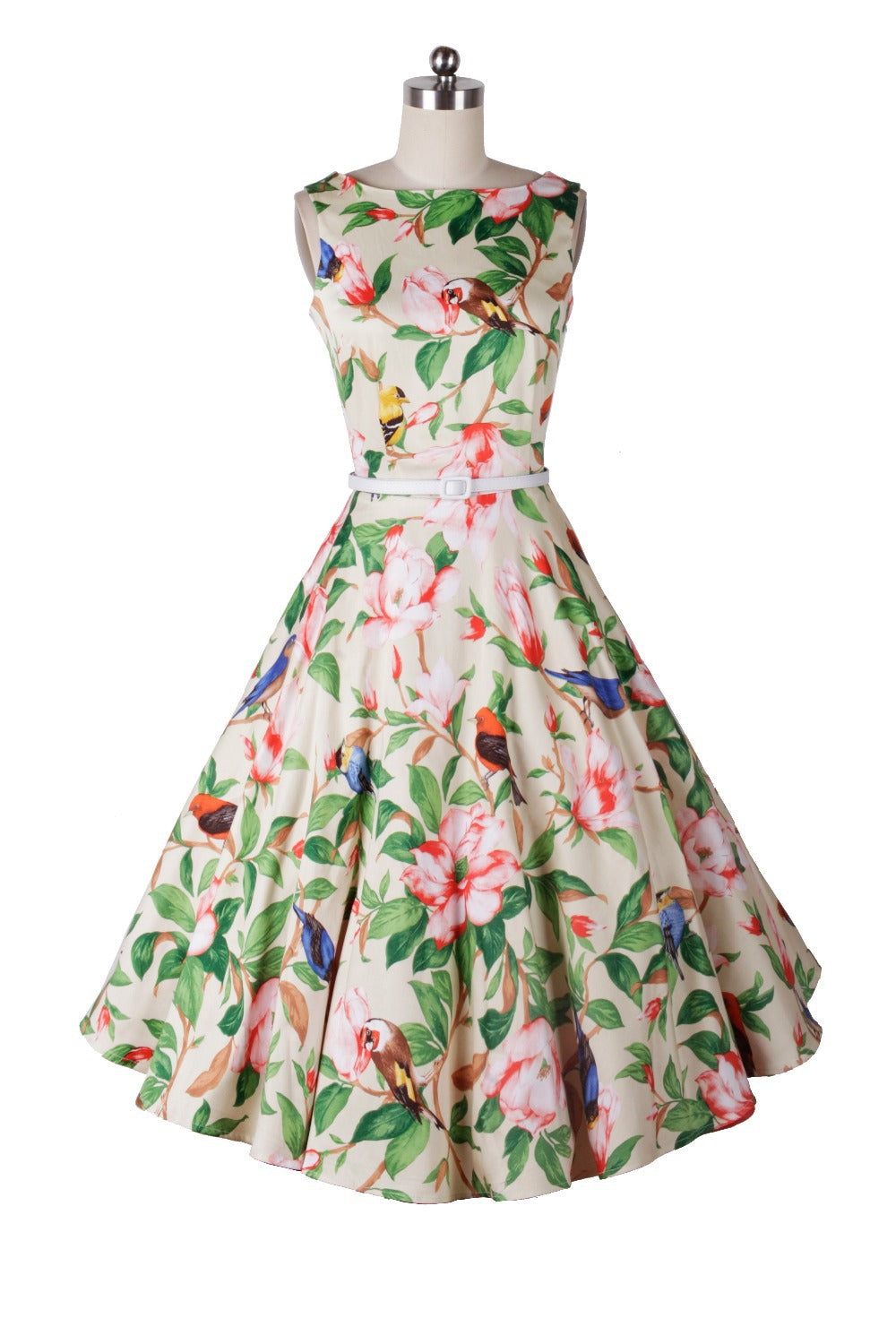 Florals and Birds Print Rockabilly Swing Dress